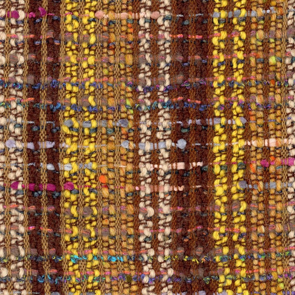 brown and yellow boucle fabric