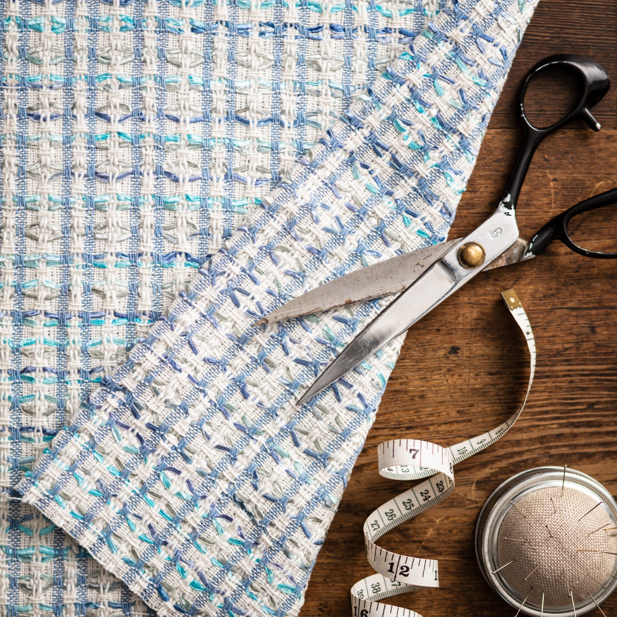 Z7539 Shades Of Blue And White Fabric Linton Tweeds Direct