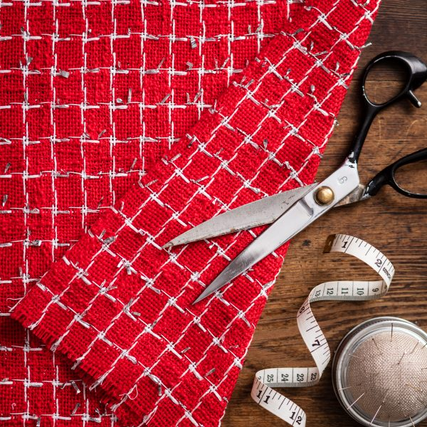 red and silver fabric