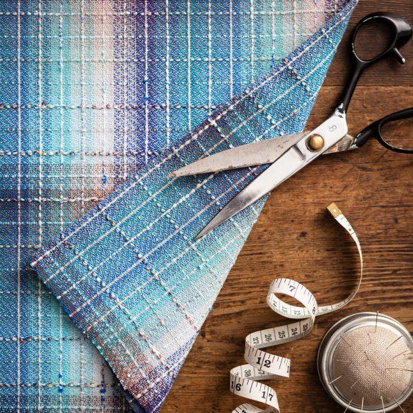 blue check fabric