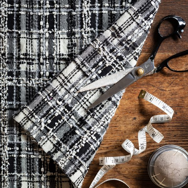 black and white check fabric